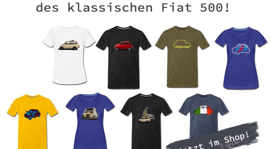Shop! Bekleidung mit dem klassischen Fiat 500.